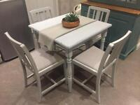 Shabby chic painted grey table and four 4 chair set