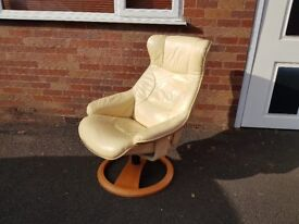 VINTAGE 80s CREAM LEATHER RECLINER DESIGNER SWIVEL CHAIR VGC FAB HOME OFFICE STUDY MAN CAVE COMFY