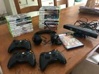 Xbox 360 bundle with Kinect, 3 controllers headset. Over 20 games