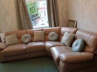 Cream Leather Corner Suite