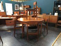 GPlan Extending Teak Dining Table & 4 Chairs. Retro Vintage Mid Century