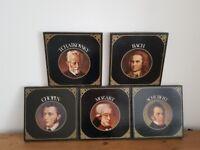 6 LP sets of Tchaikovsky, Chopin, Mozart, Bach and Schubert