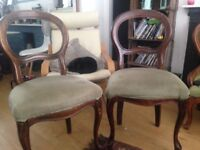 Two antique/ vintage dining chairs