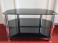 Glass Three Tier TV Stand/Table (Black Smoked Glass) £35