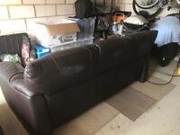 Brown leather sofa's 2/3 seater