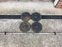 4 x 10kg Domyos Decathlon weight plates and barbell
