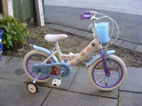 "GIRLS 14"" WHEEL FROZEN BIKE WITH FITTED STABILISERS IN GREAT CONDITION AGE 3+"