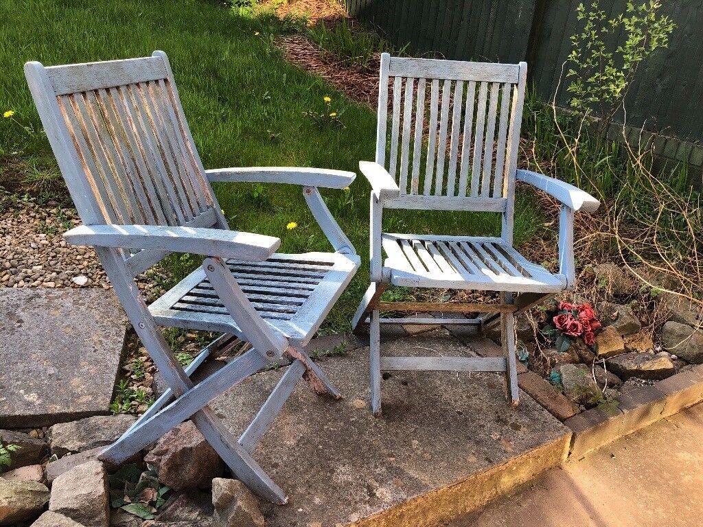 Wooden folding deck garden chair