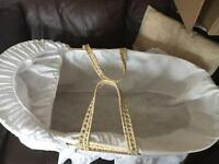 Moses basket, stand and mattress included