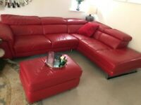 Comfy leather sofa in good condition from pet free and smoke free home