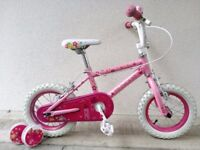 """FREE Bell with (2605) 12"""" PRINCESS Girls Kids Bike Bicycle+STABILISERS Age: 3-4, 90-105cm PINK"""