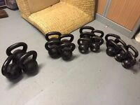 12 Kettlebells, original cast iron style for sale as set or individually