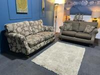 Parker knoll/Duresta style suite 3 seater sofa and 2 seater sofa mink/brown fabric
