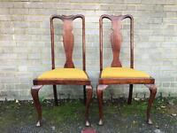 QUEENS ANNE PAIR OF CHAIRS FREE DELIVERY 🇬🇧MAHOGANY