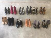 LOVELY SHOE COLLECTION of 12 Pairs Super Sexy Ladies Size 7 Designer Killer High Heel Shoes / Boots
