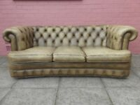 A Light Green Leather Chesterfield Three Sofa Sofa
