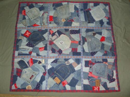 "Handmade Vintage Upcycled Blue Jean Crazy Quilt 48""x52"" Machine Appliqued 1994"