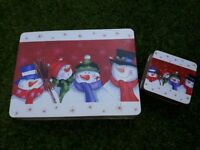 Placemats, Coasters, Snowmen, Christmas, wooden with cork backing