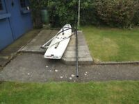 Old windsurfer board, mast & boom for sale