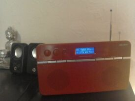 BUSH red DAB/FM stereo radio