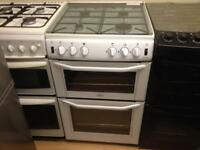 Belling white gas cooker (glass lid)