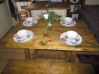 NEW BESPOKE PINE PLANK TOP GARDEN TABLE 48ins X 29ins X 30ins. HAND MADE FROM ALL NEW WOOD,