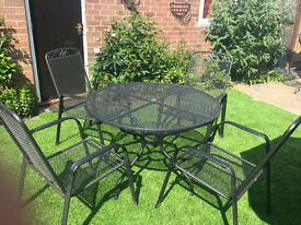 """Quality German made MWH """"Das Original"""" black metal Round Garden Table and 4 Stacking Chairs"""