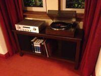 Pioneer turntable / recordplayer, Marantz amplifier, Celestion speakers, TV stand