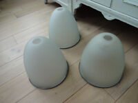 x3 Vintage Industrial Style Frosted Glass Light Shades / Fittings