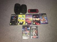 Psp red ,multiple games included