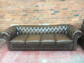 Stunning Chesterfield 4 Seater Brown Leather Sofa - UK Delivery