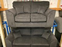 NEW - EX DISPLAY ORBIA CHARCOAL GREY 3 + 2 SEATER SOFA SOFAS 70% Off RRP