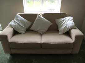 Cream Square Sofa + 2 Matching Chairs