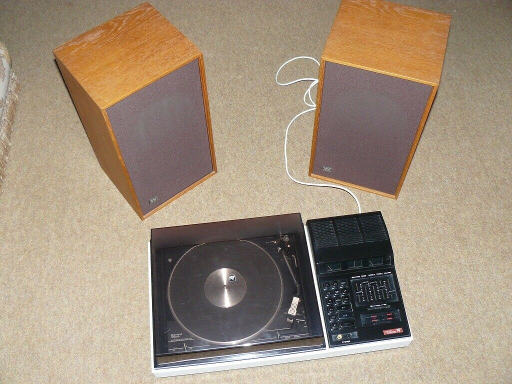 Nytech Stereo system, FM tuner, turntable and 2 Wharfedale Linton 3XP speakers