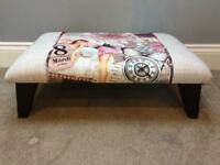 Professionally upholstered Pin Up Girl foot stool