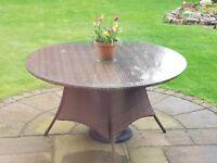 Round glass garden table top