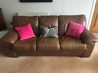 3 piece brown leather suite (2 x 2 seater and 1 x 3 seater)