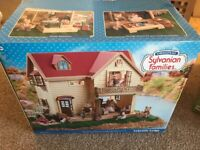 Sylvanian Family Lakeside lodge, figures, furniture and accessories in vgc