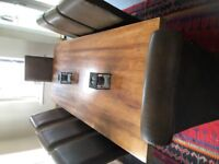 solid oak dining table and chairs (X8)
