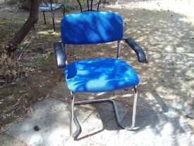 Office chair - padded blue seat/back with arms