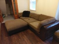 large sofa set half leather half upholstery, L Shaped Brand new cost 3500 now only 600