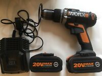 Worx 20v max lithium 4.0Ah comes with two batteries and charger working perfect and carry case