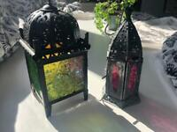 Colourful lantern candle holders
