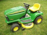 "John Deere LT166 ride on lawn mower tractor. 42"" Freedom mulching cutting deck. Hydrostatic drive."