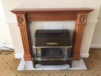 Baxi Gas Fire with wood surround and Marble back / base