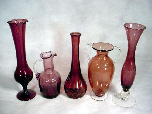 5 Vintage PURPLE Black AMETHYST Glass VASE Lot URN Ruffled PITCHER Flower STEM