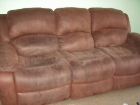 Gorgeous choclolate RECLINER Suite (with or without armchair) Brown Suede. **Immaculate condition**