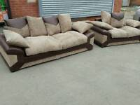 Really nice BRAND NEW brown and beige jumbo cord sofa suite. 3 and 2 seaters.can deliver