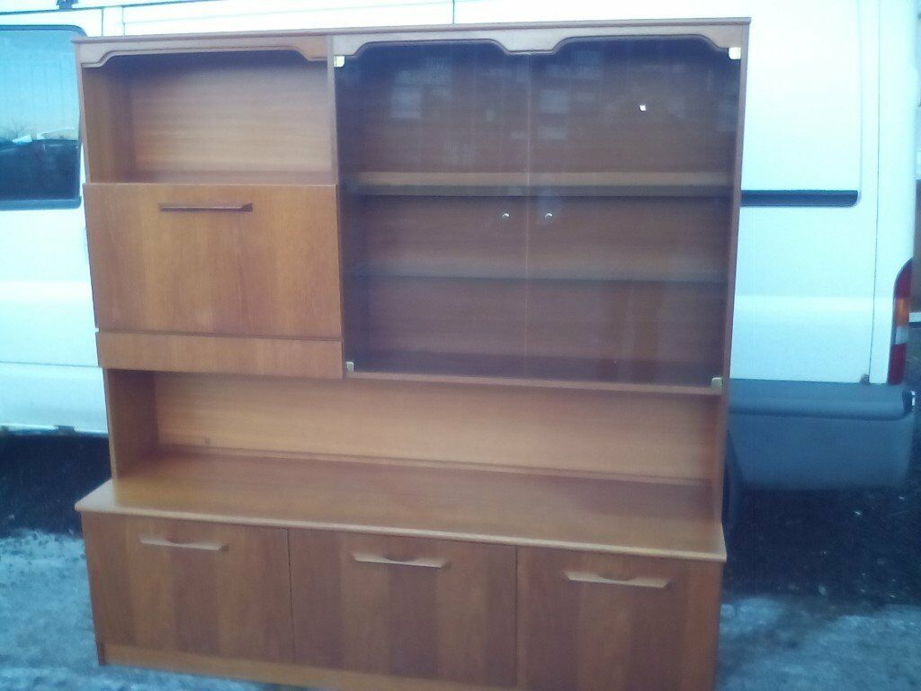 Teak display wall cabinet, with mirrored drinks compartment, jewellery drawer