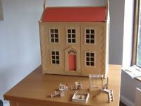 Dolls House Wooden - Fully furnished - Immaculate not a mark on anything could be given as a gift.